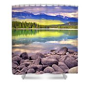 Evening At Lake Annette Shower Curtain