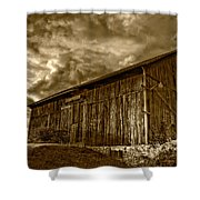 Evening Barn Sepia Shower Curtain