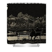 Evening Bench Warmers Shower Curtain