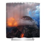 Evening Glow On Half Dome In Yosemite Shower Curtain