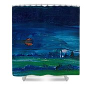 Evening Landscape Oil On Canvas Shower Curtain