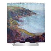 Evening Light On The Oregon Coast - Original Impressionist Oil Painting - Plein Air Shower Curtain