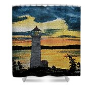 Evening Lighthouse In Stained Glass Shower Curtain