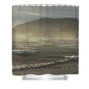 Evening Mist Over Ecola State Park Shower Curtain