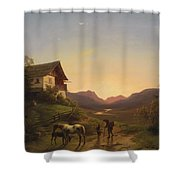 Evening Mood In Front Of A Wide Landscape With Horses Shower Curtain