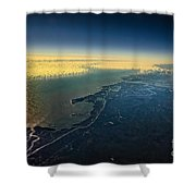 Evening Ocean Shore From The Airplane Window Shower Curtain
