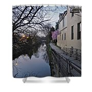 Evening On The Canal Path Shower Curtain