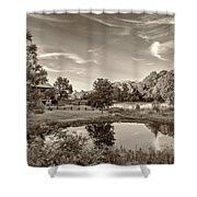 Evening Pond Sepia Shower Curtain