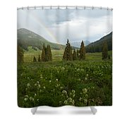 Evening Rainbow In The Rocky Mountains Shower Curtain