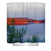 Evening Sun Glow On Calm Twin Lakes Yukon Canada Shower Curtain
