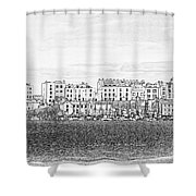 Evening Sunshine Over Tenby Shower Curtain
