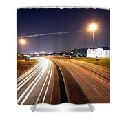 Evening Traffic On Highway Shower Curtain