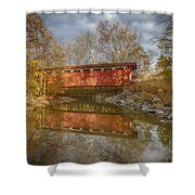 Everett Rd. Covered Bridge In Fall Shower Curtain