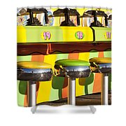Evergreen State Fair Midway Game With Coloful Stools And Squirt  Shower Curtain