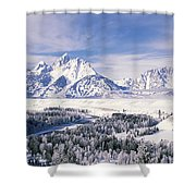 Evergreen Trees On A Snow Covered Shower Curtain