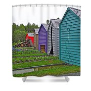 Every Garden Needs A Shed And Lawn Two In Les Jardins De Metis/reford Gardens Near Grand Metis-qc Shower Curtain