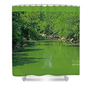 Everywhere Green Shower Curtain