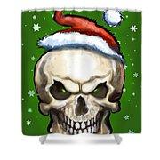 Evil Christmas Skull Shower Curtain