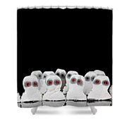 Evil White Ghosts In A Crowd With Black Space Shower Curtain
