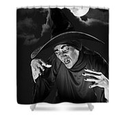 Evil Witch Under A Full Moon Shower Curtain