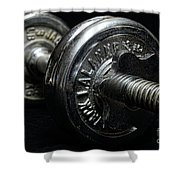 Exercise  Vintage Chrome Weights Shower Curtain