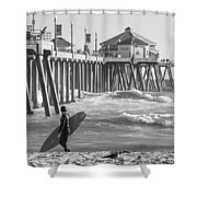 Existential Surfing At Huntington Beach Shower Curtain