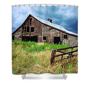Exit 166 Barn Shower Curtain