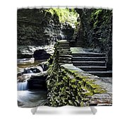 Exiting Watkins Glen Gorge Shower Curtain by Frozen in Time Fine Art Photography