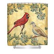 Exotic Bird Floral And Vine 2 Shower Curtain by Debbie DeWitt