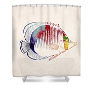 Exotic Tropical Fish Drawing Shower Curtain