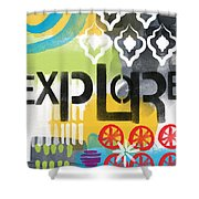 Explore- Contemporary Abstract Art Shower Curtain by Linda Woods