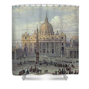 Exterior Of St Peters In Rome From The Piazza Shower Curtain