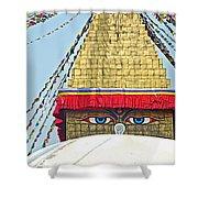 Eyes Of Buudha Boudhanath Stupa In Kathmandu-nepal  Shower Curtain