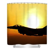 F-16 Fighting Falcon Flying Over Korea Shower Curtain