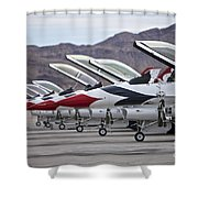 F-16c Thunderbirds On The Ramp Shower Curtain by Terry Moore
