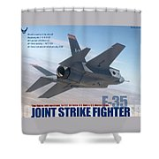Lockheed Martin F-35 Joint Strike Fighter Lightening II With Text Shower Curtain