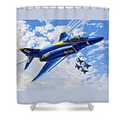 F-4 Phantoms In Blue Shower Curtain