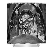 F-84 Thunderjet Pilot Shower Curtain