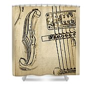 F Hole Line Drawing Shower Curtain