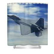F22  Raptor Climbing In The Clouds Shower Curtain