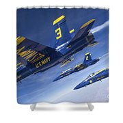 Fa-18 Hornets Of The Blue Angels Fly Shower Curtain
