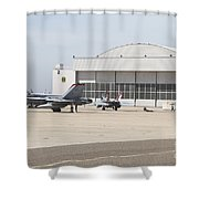 Fa-18 Hornets On The Flight Line Shower Curtain