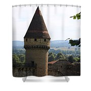 Fabry Tower - Cluny - Burgundy Shower Curtain