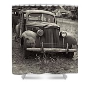 Fabulous Vintage Car Black And White Shower Curtain