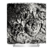 Face Carved In Stone Shower Curtain