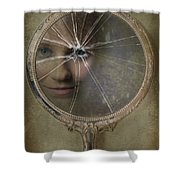 Face In Broken Mirror Shower Curtain by Amanda Elwell