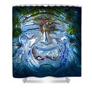 Face In Glass Shower Curtain