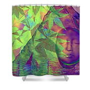 Face In The Rock With Maple Leaves Shower Curtain