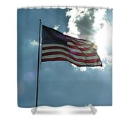 Face Of Jesus In Cloud W Flag 9 11 Remembered  Shower Curtain