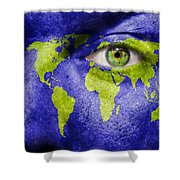 Face The World Map Shower Curtain
